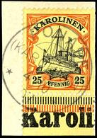 """25 Pfg. Schiffszeichnung,  Unterrandstück Mit Landesnamen Auf Briefstück, """"PONAPE 4.10 07"""", Katalog: 11 BS - Kolonie: Karolinen"""