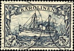"3 Mark Kaiseryacht, Tadellos, Gestempelt ""PONAPE"", Geprüft Pfenninger, Michel 170,-, Katalog: 18 O - Kolonie: Karolinen"