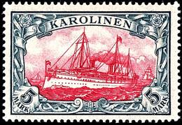 5 Mark Kaiseryacht, Tadellos Postfrisch,  Mi. 700,-, Ex Sammlung Nitaha, Zuschlag 173. Und 169. Auktion Je 280,-, Katalo - Kolonie: Karolinen