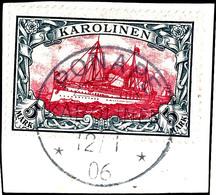 "5 Mark Kaiseryacht Gestempelt ""PONAPE 12/1 06"" Auf Briefstück, Kabinett, Fotoattest Jäschke-Lantelme BPP, Mi. 600,-, Kat - Kolonie: Karolinen"