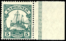 5 Pfennig Kaiseryacht, Tadellos Postfrisch, Ohne Signatur, Rechtes Randstück, Mi. 40,- ++, Katalog: A21 ** - Kolonie: Karolinen