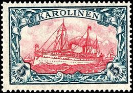 5 Mark Kaiseryacht, Tadellos Postfrisch, Ohne Signatur, Mi. 180,-, Katalog: 22IIB ** - Kolonie: Karolinen