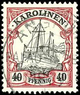 ANGAUR Auf 40 Pfennig Rot/schwarz, Tadelloses Stück, Katalog: 13 O - Kolonie: Karolinen
