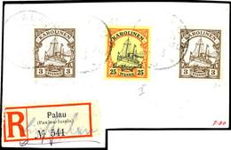 PALAU, 3 Pfennig Braun, Zwei Exemplare Und 25 Pfennig Orange/schwarz Auf Hellgelb Auf Großem Tadellosen Briefstück Mit E - Kolonie: Karolinen