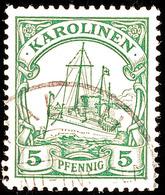 PALAU, Teilstempel Auf 5 Pf. Schiffszeichnung, Katalog: 8 O - Kolonie: Karolinen