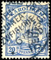 DEUTSCHE SEEPOST NEU GUINEA-ZWEIGLINIE B 6/3 11  Auf  20 Pfennig Blau, Tadellose Marke Mit Zentralem Und Ungewöhnlich Kl - Kolonie: Karolinen