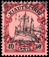 40 Cents Kaiseryacht, Gestempelt, Tadellos, Michel 120,-, Katalog: 23 O - Colony: Kiauchau