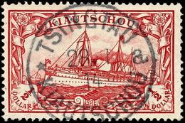 1/2 $ Kaiseryacht Ohne Wasserzeichen, Gestempelt TSINGTAU KIAUTSCHOU *a 28/1 14, Mi. 100,-, Katalog: 24B O - Colony: Kiauchau