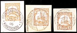 TSINGTAU A 22 II 05  Und C 6 3 08 (Arge Typen  8 Und 11b) Und TSINGTAU-TAPAUTAU 22 2 06 Je Auf Briefstück 3 Pf. Und 2mal - Colony: Kiauchau
