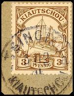 TSINGTAU A 5/12 05, Arge Type 10 A, Klar Auf Briefstück 3 Pf. Kaiseryacht, Katalog: 5 BS - Colony: Kiauchau