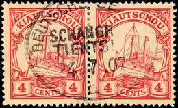 DEUTSCHE SEEPOST SCHANGHAI - TIENTSIN D 24.7.07, Klar Auf Paar 4 C. Kaiseryacht (etwas Bügig)m ARGE 400,-, Katalog: 20(2 - Colony: Kiauchau