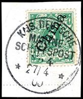 K.D. MSP No. 4 ( SMS Irene) 27/4 00, Klar Und Zentr. Auf Briefstück China 5 Pfg. Krone/Adler, Katalog: 2II BS - Colony: Kiauchau