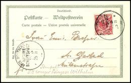 K.D. MSP No. 5 (SMS Prinzess Wilhelm) 25/11 98, Auf Ansichtskarte Des Schiffes 10 Pfg. Krone/Adler Nach M.Gladbach (link - Colony: Kiauchau