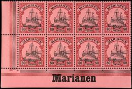 "80 Pfg. Kaiseryacht, Waagerechter 8 Er - Block Aus Der Linken Unteren Bogenecke, Unterrand Mit Inschrift ""Marianen"", Pos - Colony: Mariana Islands"