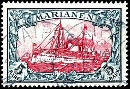 "5 M. Kaiseryacht, Gestempelt ""SAPIAN 27/12 11"", Tadellos, Geprüft Pauligk, Fotoattest Jäschke-L. BPP, Mi. 600.-, Katalog - Colony: Mariana Islands"