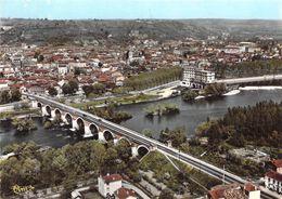 82 - Moissac - Vue Panoramique Aérienne Sur Le Tarn Et Le Pont Napoléon - Moissac