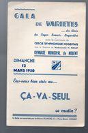 Nogent Sur Marne (64 Val De Marne)   Programme  GALA DE VARIETES Mars 1950 (M0271) - Programs