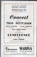 Tarbes (65 Hautes Pyrénées)    Programme  Concert TRIO PETITJEAN   (M0272) - Programs