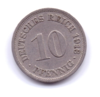 DEUTSCHES REICH 1913 F: 10 Pfennig, KM 12 - [ 2] 1871-1918 : Imperio Alemán