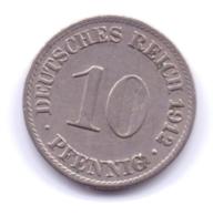 DEUTSCHES REICH 1912 A: 10 Pfennig, KM 12 - [ 2] 1871-1918 : Imperio Alemán