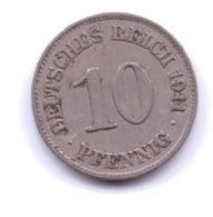 DEUTSCHES REICH 1911 E: 10 Pfennig, KM 12 - [ 2] 1871-1918 : Imperio Alemán