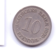 DEUTSCHES REICH 1909 A: 10 Pfennig, KM 12 - [ 2] 1871-1918 : Imperio Alemán
