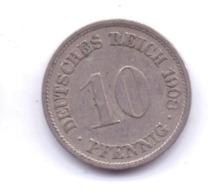DEUTSCHES REICH 1908 F: 10 Pfennig, KM 12 - [ 2] 1871-1918 : Imperio Alemán