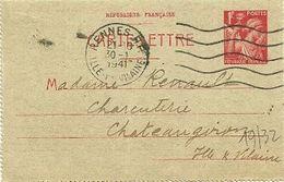ILLE & VILAINE - Dépt N° 35 = RENNES RP 1941 = ENTIER IRIS CARTE LETTRE + FLAMME SECAP Muette '5 Lignes Ondulées' - Enteros Postales