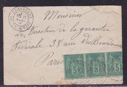 France, Seine Et Oise - Yvert N° 75 En Bande De 3 Sur Enveloppe De Chevreuse Du 27/3/1881 - Petite Déchirure - Storia Postale