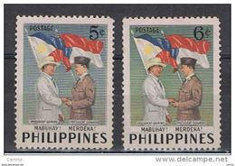 FILIPPINE:  1953  VISITA  SUKARNO  -  S. CPL. 2  VAL. N. -  YV/TELL. 412/13 - Philippines