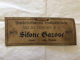 TARGA PUBBLICITARIA STABIL. INDUSTRIALENEGRI MINOJA & C.SIFONE GAZOSE PAVIA 1900 - Pubblicitari