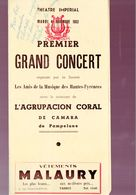 Tarbes (65 Hautes Pyrénées)  Théâtre Impérial  Programme GRAND CONCERT NOVEMBRE 1952 (M0276) - Programs