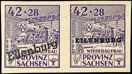 42 Pfg Freimarke Im Waagerechten Zusammendruck-Typenpaar Mit Aufdruck In Type A Und B, Tadellos Postfrisch, Mi. 350.-, K - Eilenburg
