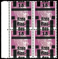 25 Auf 6 Pfg Hitler, Postfrischer Kabinett-Viererblock Mit Stark Nach Oben Verschobenen Aufdruck, Dekorative Einheit!, K - Glauchau