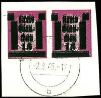 6 Pfg Hitler Mit Doppelaufdruck Im Waagerechten Paar Auf Kabinett-Briefstück, Mehrfach Geprüft Sturm, Mi. 140,-, Katalog - Glauchau