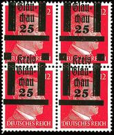 25 Auf 12 Pfg Hitler, Postfrischer Kabinett-Viererblock Mit Stark Nach Oben Verschobenen Aufdruck (Kreis Unten Stehenden - Glauchau