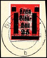 12 Pf. Mit Doppeltem Aufdruck, Tadellos A. Briefstück, Fotobefund Dr. Penning BPP, Mi. -.-, Katalog: 7DD BS - Glauchau