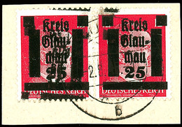 12 Pfg Hitler Im Waagerechten Paar Mit Doppelaufdruck (zweiter Aufdruck Stark Nach Links Oben Verschoben) Auf Kabinett-B - Glauchau