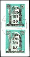 25 A. 42 Pf. Grün, Senkr. Paar Mit Doppelaufdruck, Tadelloses Briefstück, Gepr. Sturm, Mi. 100,-, Katalog: 12DD BS - Glauchau