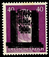 40 Pfg Hitler Mit Doppeltem Aufdruck, Ungebrauchtes Kabinettstück, Geprüft Findeisen BPP, Mi. 130,- Für **, Katalog: 15D - Glauchau