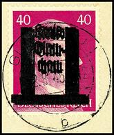 40 Pf. Mit Doppeltem Aufdruck, Tadellos A. Briefstück, Fotobefund Dr. Penning BPP, Mi. Gestempelt Unbekannt, Katalog: 15 - Glauchau