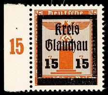 15 Auf 3 Pfg Partei-Dienstmarke, In Guter Y-Variante Mit Waager. Gummiriffelung, Tadellos Postfrisch, Links Mit Bogenran - Glauchau