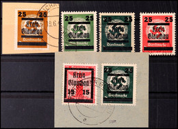 3, 5, 6, 12 Pf. Behördendienstmarken Mit Aufdruck, Dazu Briefstück Mit Mi. 26, 32, Teils Sign., Mi. 203.-, Katalog: 30,u - Glauchau