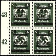 6 Pfg Behörden-Dienstmarke Schwarzgrün Mit Aufdruck Im Postfrischen Kabinett-Viererblock, Dabei Rechte Obere Marke Mit A - Glauchau