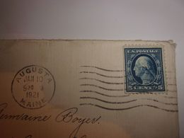 ENVELLOPPE TIMBREE USA 1921  MARQUAGE AUGUSTA MAINE   TO FRANCE  CLERMONT FERRAND - Cartas
