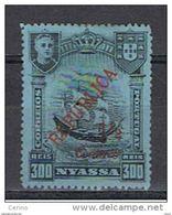 NYASSA:  1921  SOPRASTAMPATO  -  1 1/2 C./300 R. NERO/BLU  S.G. -  YV/TELL. 86 - Nyassa