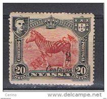 NYASSA:  1921  SOPRASTAMPATO  -  2 C./20 R. NERO  E  CARMINIO  L. -  YV/TELL. 87 A - Nyassa