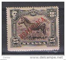 NYASSA:  1921  SOPRASTAMPATO  -  2 1/2 C./25 R. NERO  E  BRUNO  L. -  YV/TELL. 88 - Nyassa