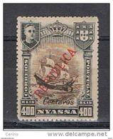 NYASSA:  1921  SOPRASTAMPATO  -  3 C./400 R. NERO  E  BRUNO  L. -  YV/TELL. 89 - Nyassa