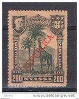 NYASSA:  1921  SOPRASTAMPATO  -  20 C./200 R. NERO  E  VERDE/SALMONE  L. -  YV/TELL. 94 - Nyassa